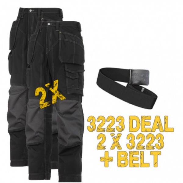Snickers 2 x 3223 New Floor Layers Trousers+ PTD Belt