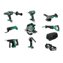 HIKOKI KTL818BL2/JAZ 18V 8 PIECE BRUSHLESS KIT WITH 2X 6.0AH LI-ION BATTERIES