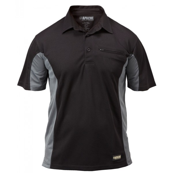 Apache APDMP Dry Breathable Black Grey Max Polo Shirt