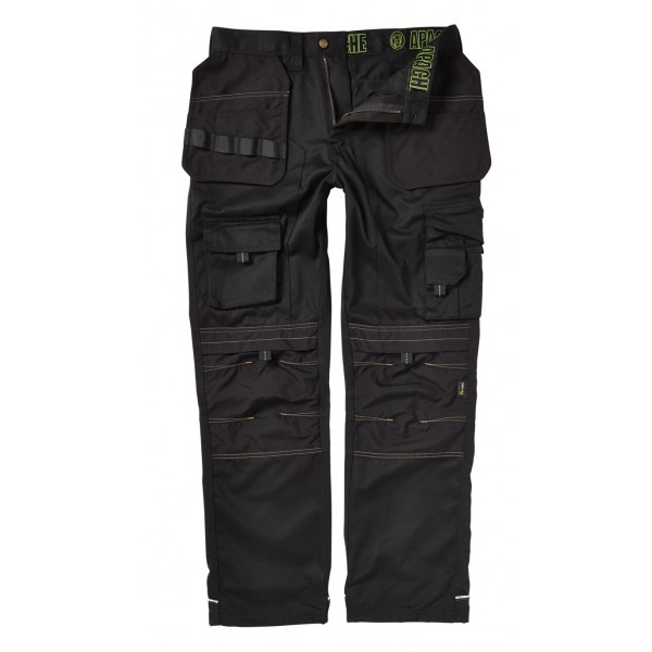 Apache Mens Black Holster Cordura Knee Pad Tool Phone Pocket Workwear Trouser
