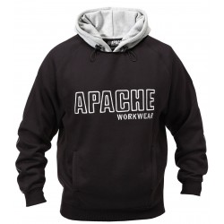 Apache Workwear Mens Black/Grey Hooded Sweatshirt Double Layered Work Hoodie