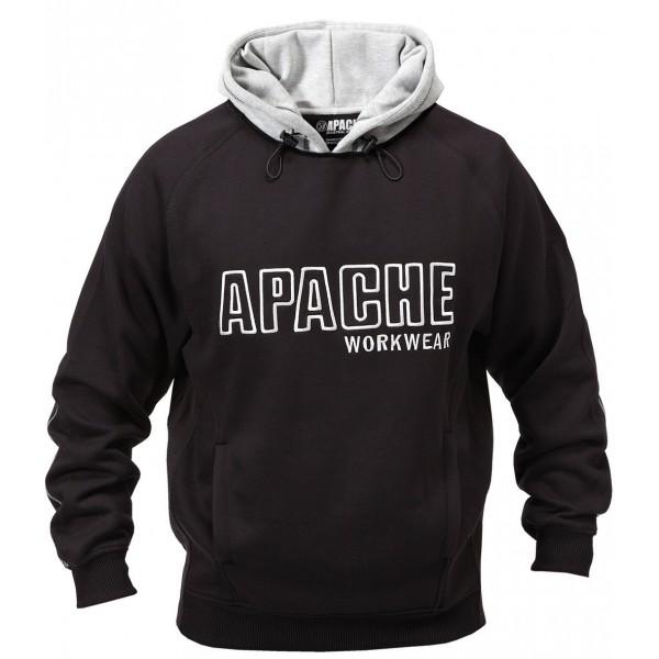 Apache Workwear Mens Black/Grey Hooded Sweatshirt Double Layered Work Hoodie