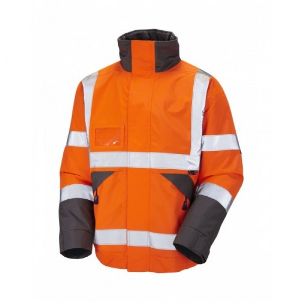 Leo Workwear Bickington Class 3 GO/RT Orange Bomber Jacket
