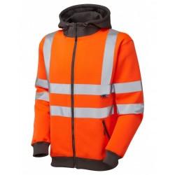Leo Workwear Saunton Class 3 GO/RT Orange Hooded Sweatshirt