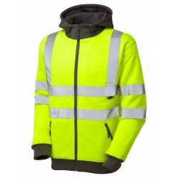 Leo Workwear Saunton Class 3 GO/RT Yellow Hooded Sweatshirt