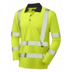 Leo Workwear Swimbridge Class 3 GO/RT Yellow Poly/Cotton Sleeved Polo Shirt