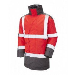 Leo Workwear Tawstock Class 3 Red/Grey Anorak