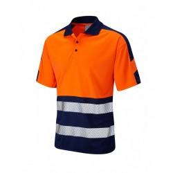 Leo Workwear Watersmeet Class 1 Orange 2 Tone Hi Vis Polo Shirt