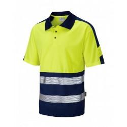Leo Workwear Watersmeet Class 1 Yellow 2 Tone Hi Vis Polo Shirt