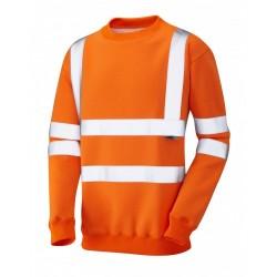 Leo Workwear Winkleigh Class 3 Orange Hi Vis Sweatshirt