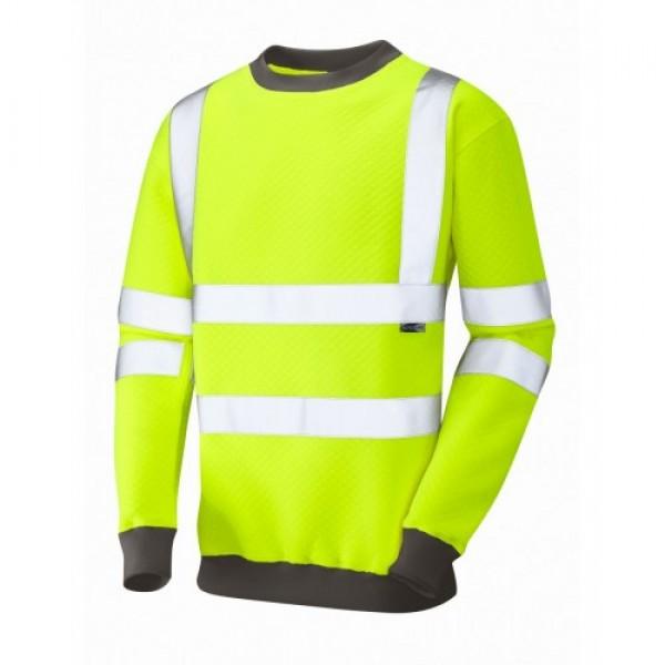 Leo Workwear Winkleigh Class 3 Yellow Hi Vis Sweatshirt
