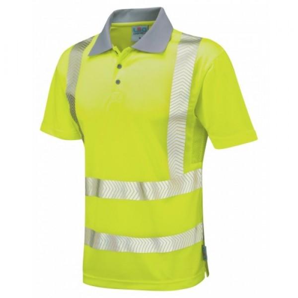 Leo Workwear Woolacombe Class 2 Yellow Hi Vis Polo Shirt