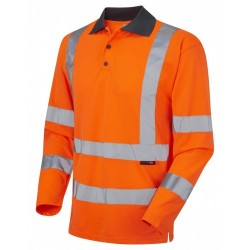 Leo Workwear Woolsery Class 3 Orange Hi Vis Long Sleeve Polo Shirt