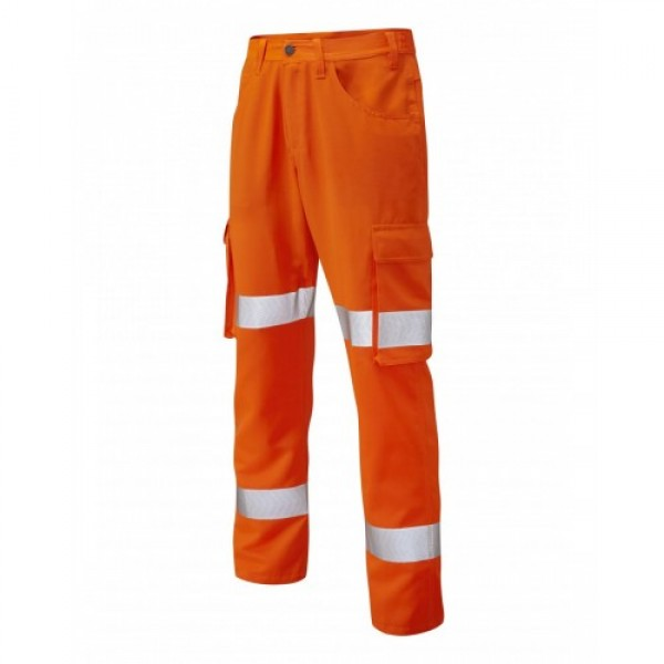 Leo Workwear Yelland Class 1 GO/RT Orange Lightweight Cargo Trouser