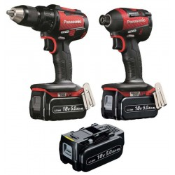 Panasonic EYC217LJ3G31R 18v DV Brushless Combi Drill Impact Driver Twin RED Limited Edition 3 x 5.0Ah Li-ion Batteries
