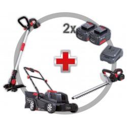 Scheppach GS18-3li 18v Triple Pack Lawn Mower Hedge Trimmer w/ Strimmer C/W 2 X 4ah Li-ion Batteries