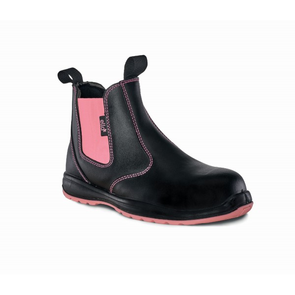 Titan Ella Daisy Black and Pink Leather Steel Toe Cap Work Shoes Safety Boots