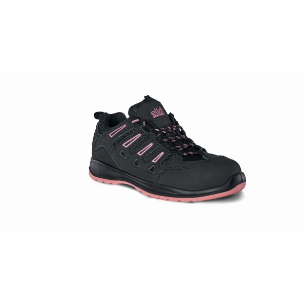 Titan Lily Womens Black Pink Genuine Nubuck Split Buffalo Leather Steel Toe Cap Midsole Safety Shoe Trainer