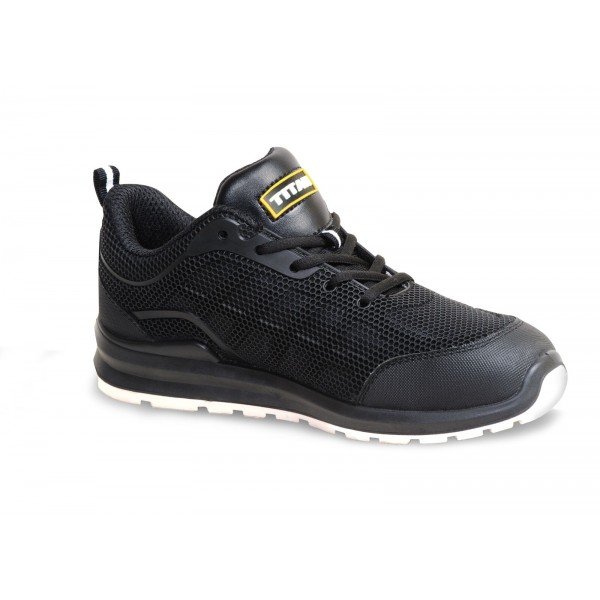 Titan Jogger Black Steel Toe Mid-Sole Slip Resistant Mesh Safety Trainers