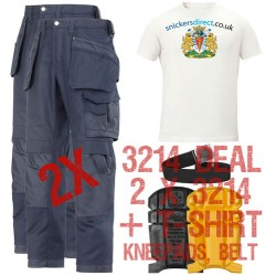 Snickers 2 x 3214 Trousers Plus SD T-Shirt & Knee Pads, A PTD Belt